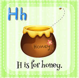 Letter H. Flashcard of alphabet H is for honey Royalty Free Stock Photography