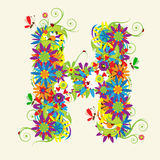 Letter H, floral design Stock Images