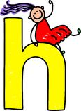 Letter H girl. Happy little girl climbing over giant letter H - lowercase version Stock Photos