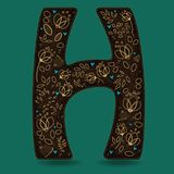The Letter H with Golden Floral Decor. Dark brown symbol. Yellow flowers and plants with metallic blazing effect. Blue small hearts. Vector Illustration Stock Photography