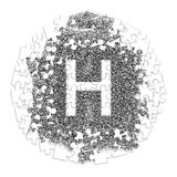 Letter H. Hand made font drawn with graphic pen on white backgro. Und in jigsaw puzzle shape Stock Image