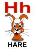 Letter H hare. Alphabet school children hare letter illustration Stock Photography