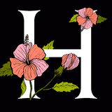 Letter H with Hibiscus Flower. Vector letter H with hibiscus flower Royalty Free Stock Photo