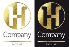 Letter H logo. Golden bright letter H logo vector illustration