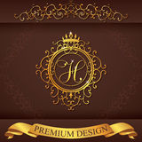 Letter H. Luxury Logo template flourishes calligraphic elegant ornament lines. Business sign, identity for Restaurant, Royalty, Bo stock illustration