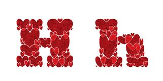 Letter H, made from hearts. Letter H, uppercase and lowercase of alphabet made from hearts Stock Image