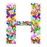 The letter H made up of lots of butterflies of different colors Stock Photos