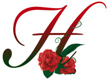 Letter H red floral  illustration. Red rose decorated Letter H font , colorful and Stock Photos