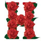 Letter H red roses  illustration Stock Image