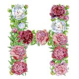 Letter H of watercolor flowers. Isolated hand drawn on a white background, wedding design, english alphabet stock illustration