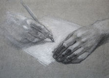Letter. Hand draw. The person writes the letter. Hand draw. sketch Stock Image