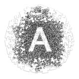 Letter A. Hand made font drawn with graphic pen on white backgro Royalty Free Stock Photography