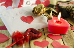 The letter and heart Valentine's day Stock Photography
