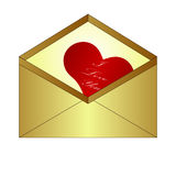 Letter and Heart. Vector set of wax sealed envelopes royalty free illustration