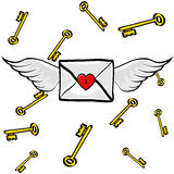 Letter Heart Wings with Keys. Valentines Letter sealed with a heart lock, flying on Angel Wings and Keys in Background Stock Image