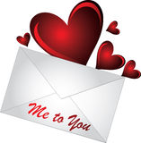 Letter with hearts Royalty Free Stock Image
