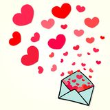 Letter with hearts Royalty Free Stock Photo