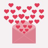 Letter with hearts. Red letter with red hearts on valentines day vector illustration