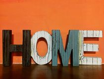 Letter :home orange background Stock Photos