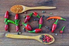 Letter Hot made from red chili peppers Stock Image