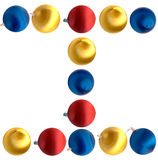 Letter I. The letter i spelled using Christmas balls, isolated on a white background Stock Photo