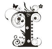 Letter I. Decorative letter with flowers for design stock illustration