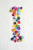 Letter I of the alphabet of buttons of various shapes and colors Stock Photo