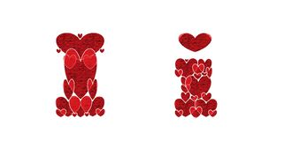 Letter I, of alphabet made from hearts. Letter I, uppercase and lowercase of alphabet made from hearts Royalty Free Stock Photo