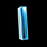 Letter I in blue glass 3D Stock Photo