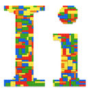 Letter I built from toy bricks in random colors Stock Image