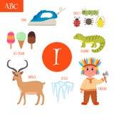 Letter I. Cartoon alphabet for children. Iguana, ice-cream, iron. Letter I. Cartoon alphabet for children. Vector illustration Stock Photos