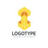 Letter I cube figure logo icon design template elements Royalty Free Stock Image