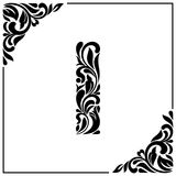 The letter I. Decorative Font with swirls and floral elements. Vintage style.  Stock Photography