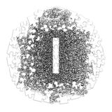Letter I. Hand made font drawn with graphic pen on white backgro. Und in jigsaw puzzle shape Stock Photography