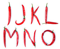 The letter I, J, K, L, M, N, O, composed of red chili peppers Stock Photography