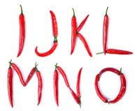 The letter I, J, K, L, M, N, O, composed of red chili peppers Stock Photography