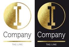 Letter I logo. Golden bright letter I logo stock illustration