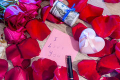 Letter with I love you note, red rose and pen. Stock Image