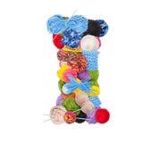 Letter I. Made of knitting yarn isolated on white background Stock Images