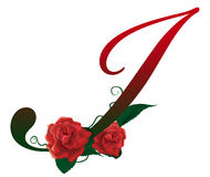 Letter I red floral  illustration. Red rose decorated Letter I font , colorful and Royalty Free Stock Images