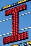 Letter I in red light bulbs Stock Image