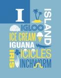 Letter I Words Typography Illustration Alphabet Poster Design Stock Photography