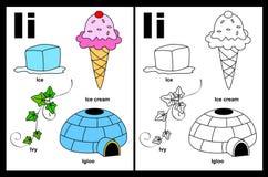 Letter I worksheet vector illustration