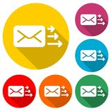 Letter icon, Send email message, color icon with long shadow. Simple vector icons set stock illustration