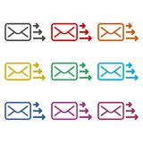 Letter icon, Send email message, color icons set. Simple vector icon royalty free illustration