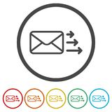 Letter icon, Send email message, 6 Colors Included. Simple vector icons set royalty free illustration