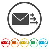 Letter icon, Send email message, 6 Colors Included. Simple vector icons set vector illustration