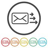 Letter icon, Send email message, 6 Colors Included. Simple vector icons set stock illustration