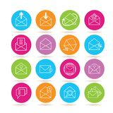 Letter icons. Collection of 16 letter icons in colorful buttons stock illustration