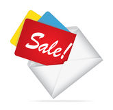 Letter with information about the sale. On white Royalty Free Stock Images